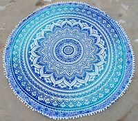 """New 46"""" Round Tapestry Mandala Hippie Beach Rug Throw Bohemian Roundie Yoga Mat"""