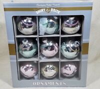 "SHINY BRITE CHRISTOPHER RADKO CHRISTMAS TREE 2 1/2"" GLASS BALL FLOCKED ORNAMENTS"
