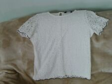 Womens Size 18 - Ivory Short Sleeve Lacy Top - Dorothy Perkins