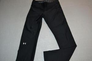 23809-a Womens Under Armour Gym Pants Workout Size Large Compression Fit Black