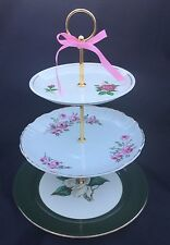 3 Tier Serving Tray Old Rose Wedding Cake Stand Pink Green Shabby Tea Party