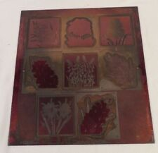 Vintage Etching Engraved Printing Machine Press Plate Stamp ~ Large Combo 8 RED