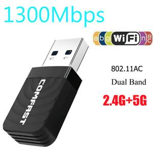 1200Mbps Wireless USB Wifi Adapter for Desktops Laptops Windows 10 8 7 Mac OS