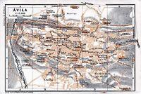 Ávila 1912 pequeña mapa ciudad orig. barrio de las Vacas Casa Polentinos Vicente