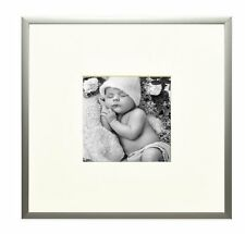8x8 Aluminum Silver Frame with Ivory Color Mat for 4x4 Picture,Table-top Display