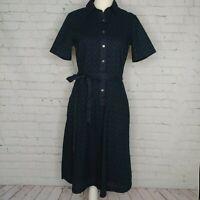 Lands' End Womens Navy Blue Eyelet Shirt Dress Size 6 Tall Tie Waist Button Up