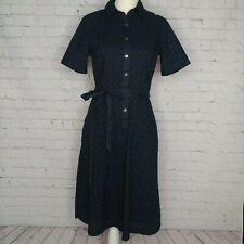 Lands' End Womens Navy Blue Eyelet Shirt Dress Size 6 Tall Button Up Tie Waist