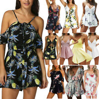 Women Mini Playsuit Summer Beach Holiday Ladies Casual Romper Jumpsuit Shorts