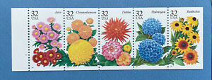 Scott #2997a GARDEN FLOWERS  One Booklet Pane (5) of US 32¢ Stamps MNH 1995