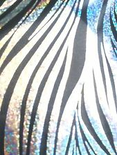 "Zebra Black Silver Hologram 4-Way Stretch Spandex 60"" Wide Fabric By The Yard"