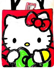 Hello Kitty Canvas Tote Bag Hugging Ribbon Bow Lime Green Hot Pink for coled7781