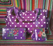 Flowers spots Oil Cloth Bag Purse Wallet tote School purple set job lot