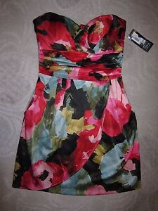 NWT Alyn Paige NY brand floral satin strapless cocktail dress, juniors' size 7/8