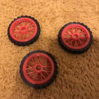 K'NEX SPARES 45mm Red Spoke Wheel KNEX X 3 With Tyre Discontinued 20301