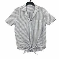 Equipment Femme Womens Medium White Blue Striped Tie Front Short Sleeve Top