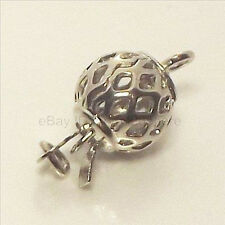 10pcs 1Strand white Gold Plated  Filigree Box Ball Clasp Jewelry Findings 8x8mm