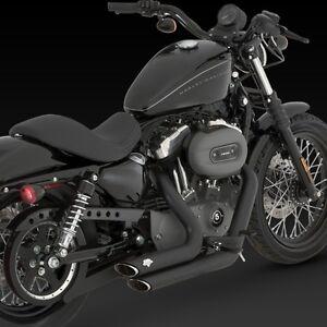 04-13 Harley Sportster XL 883/1200 Black VANCE & HINES Short Shots Exhaust 47219