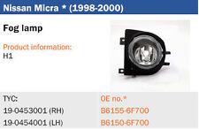 Antiniebla Nissan Micra K11 desde 1998 à 2000 blanco, izquierda