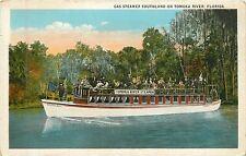 Florida, FL, Tomoka River, Gas Steamer Southland 1920's Postcard
