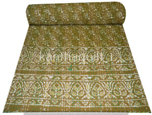 Indian Embroidery Kantha Quilt Bedspread Block Throw Cotton Green