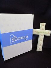 """Baby girl Baptism wall cross-6""""H-quilted look w/pink bows-BAPTIZED IN CHRIST-NIB"""