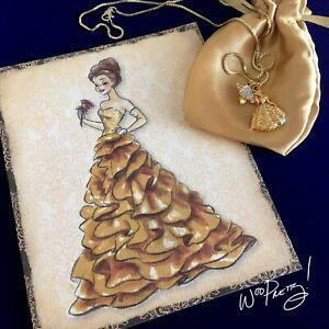 Upcycled Gold Plated Princess Belle Charms + 2011 Disney Designer Note Card