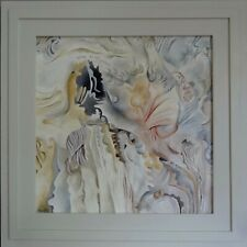 Winter Forest Katy Wroe oil painting framed wood panel white pink ochre grey