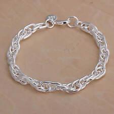 Bracelet chaîne maille forçat plaqué argent 925 20 cm  mixte homme femme