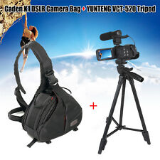 DSLR SLR Digital Camera Bag Waterproof Messenger +Yunteng Tripod For Canon X1