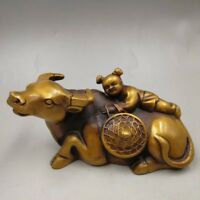 Chinese Antique Old copper handmade boy cow Home decoration
