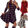 Womens V Neck Button Down Plaid Mini Dress Ladies Lace Up Check Swing Dresses