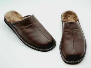 Warme Herren Hausschuhe Pantoffeln aus Echtleder in der Gr.41/42/43/44/45/46