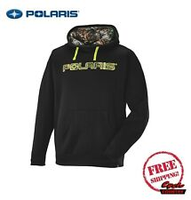 POLARIS MEN'S CAMO POLY HOODIE SWEAT SHIRT BLACK PULLOVER RZR RMK ACE INDY NEW
