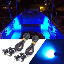 4x Blue LED Boat Light Waterproof Outrigger Spreader Transom Under Water Night