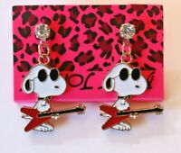 Betsey Johnson Crystal Rhinestone Enamel Snoopy Post Earrings