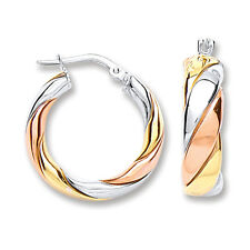 Silver Hoop Earrings Creole Sterling Silver Hoops Rose and Yellow Gold Plate