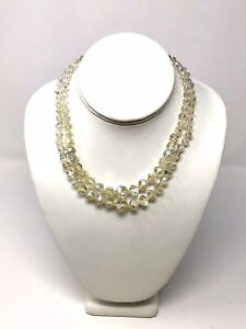 VINTAGE IRIDESCENT BEADED DOUBLE STRAND PRINCESS LENGHTH NECKLACE