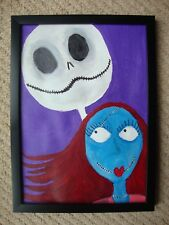 Nightmare Before Christmas framed Jack and Sally A4 painting on acrylic paper