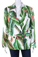 FARM Rio Womens Linen Long Sleeve Shawl Collar Forest Palm Blazer Green Size XS