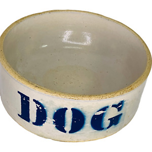 "Heavy Stoneware Dog Bowl 7"" Food or Water Dish Pet Feeder Blue Lettering"