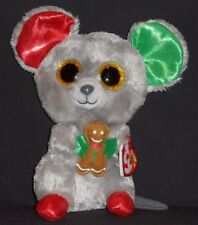 """TY BEANIE BOOS - MAC the 6"""" CHRISTMAS MOUSE - MINT with MINT TAG"""