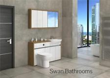 OAK / WHITE GLOSS BATHROOM FITTED FURNITURE WITH WALL UNITS 1400MM