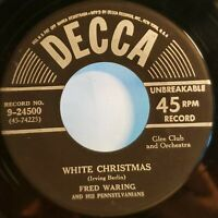 """Fred Waring And His Pennsylvanians: White Christmas: 1948 Decca 7"""" Single 45 RPM"""