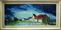 Original expressionistic kitsch retro framed Cottages Painting 1960's 1970's 70s