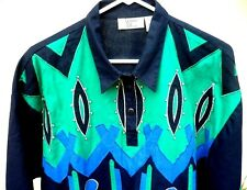 Vtg Blouse 80S L Xl Western Disco Rhinestone Embellished Geometric Geo Top Women