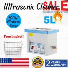 Industry Heated Timer   Digital Ultrasonic Cleaner 5L+ Basket Cleaning Equipment
