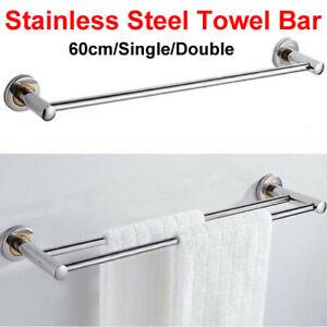 Bathroom Towel Rail Holder Single Double Wall Mounted Stainless Steel Towel Rack