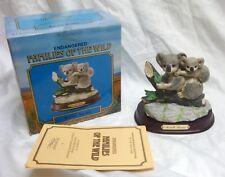 Vtg Mother & Baby Koala Figurine Porcelain Bisque On Wood Base Westminster