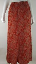 Crazy Horse Womens Size 10 Boho Hippie Red Green Paisley Maxi Skirt Flowy Rayon