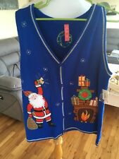 Ugly Christmas Sweater Vest Large 12/14 Blue